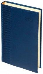 Kalendarz książkowy 2020 A4 dzienny papier chamois wycinane registry oprawa CARBON - oprawa przeszywana - kolor granatowy