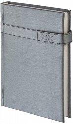 Kalendarz książkowy 2020 A5 dzienny papier chamois wycinane registry oprawa ALU na magnes srebrny