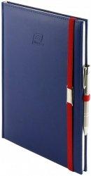 Notes A5 z długopisem zamykany na gumkę z blaszką - papier biały w kratkę ***** oprawa Vivella granatowa (gumka czerwona)