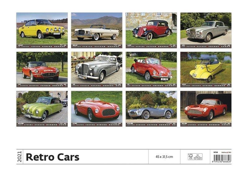 Kalendarz ścienny wieloplanszowy Retro Cars 2021 - tylna okładka