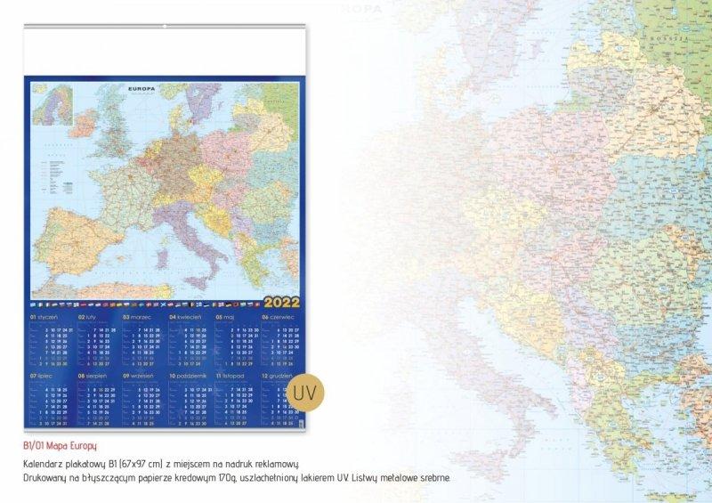 Kalendarz plakatowy B1/01 MAPA EUROPY 2022 z miejscem na nadruk reklamowy