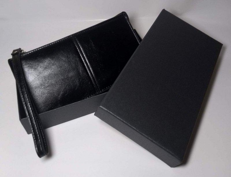 Portfel czarny zamykany na suwak z pudełkiem ozdobnym