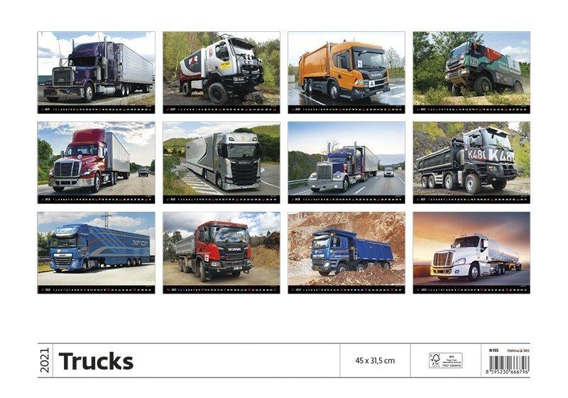 Kalendarz ścienny wieloplanszowy Trucks 2021 - tylna okładka