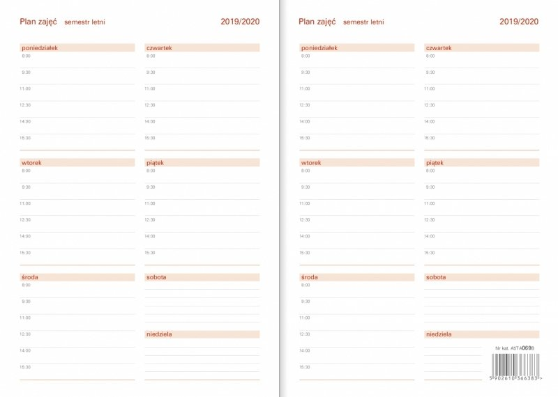 Kalendarz akademicki - Plan zajęć na semestr letni 2019/2020