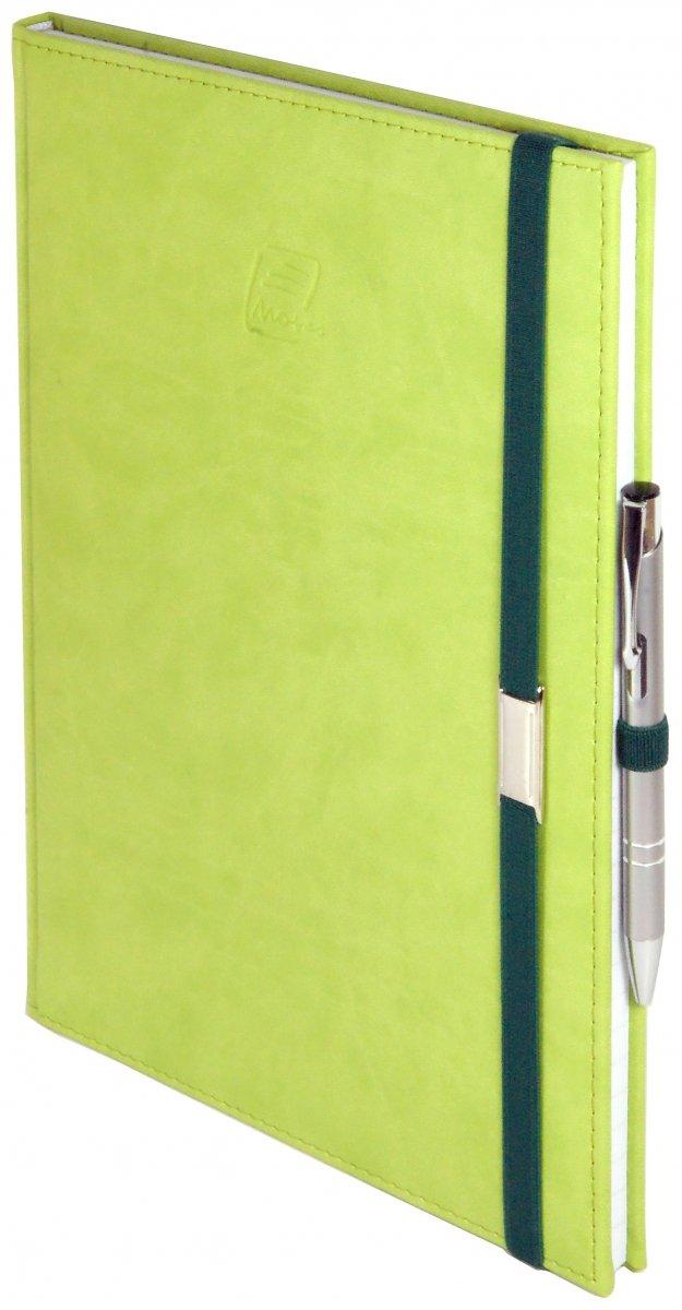 Notes A4 z długopisem zamykany na gumkę z blaszką  oprawa Vivella seledynowa - okładka