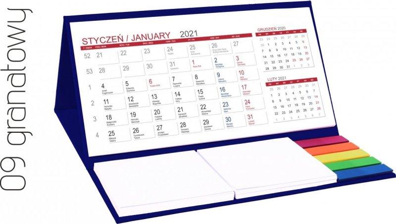 Kalendarz biurkowy z notesami i znacznikami MIDI 3-miesięczny 2021 granatowy