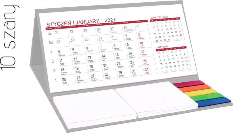 Kalendarz biurkowy z notesami i znacznikami MIDI 3-miesięczny 2021 szary