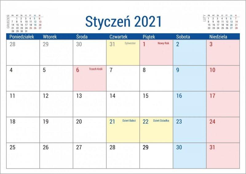 Kalendarz biurkowy stojący na podstawce PLANO 2021 - kalendarium