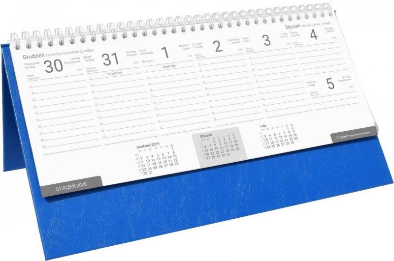 Kalendarz biurkowy stojąco-leżący BUSINESS LINE oprawa Agora kolor niebieski