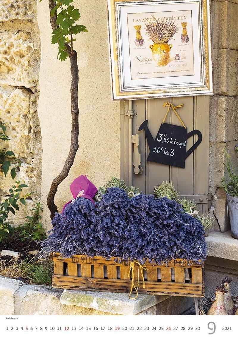 Kalendarz ścienny wieloplanszowy Provence 2021 - wrzesień 2021