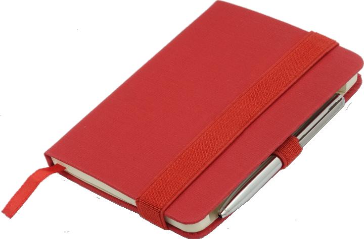 Notes A6 z długopisem zamykany na gumkę - papier chamois w linie oprawa EKOSKÓRA LINEN czerwona (gumka czerwona)