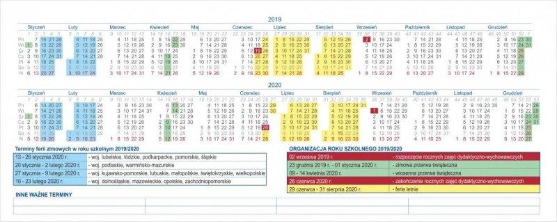 Kalendarz biurkowy EXCLUSIVE PLUS na rok szkolny 2019/2020 - skrócone kalendarium roku 2019 i roku 2020