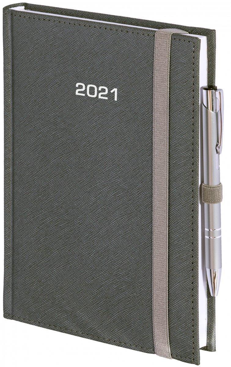 Kalendarz książkowy 2021 B5 dzienny oprawa ROSSA zamykana na gumkę szara