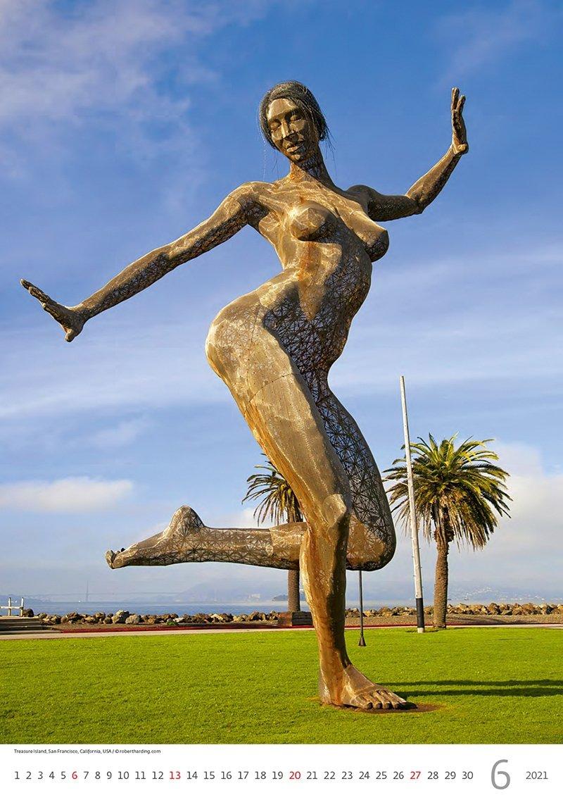 Kalendarz ścienny wieloplanszowy Modern Statues 2021 - czerwiec 2021