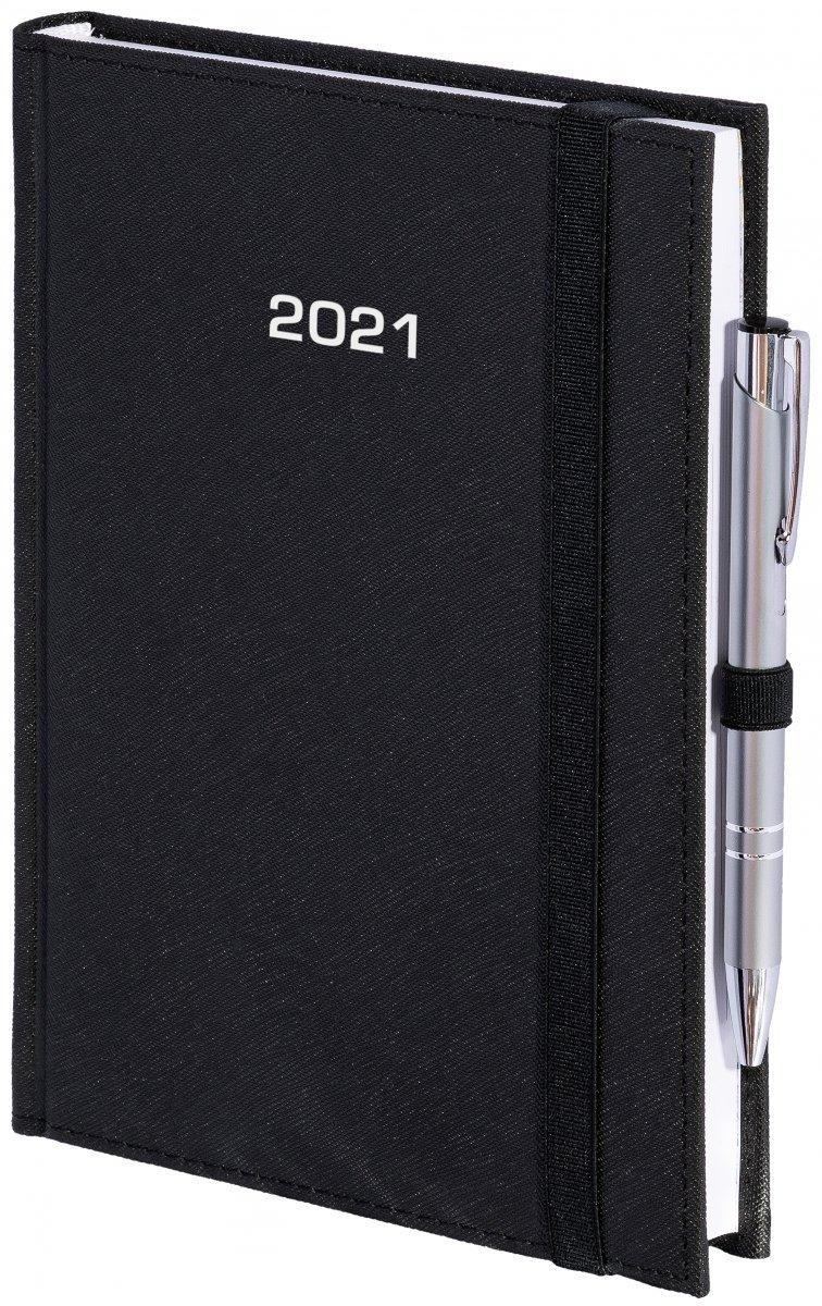 Kalendarz książkowy 2021 B5 dzienny oprawa ROSSA zamykana na gumkę czarna