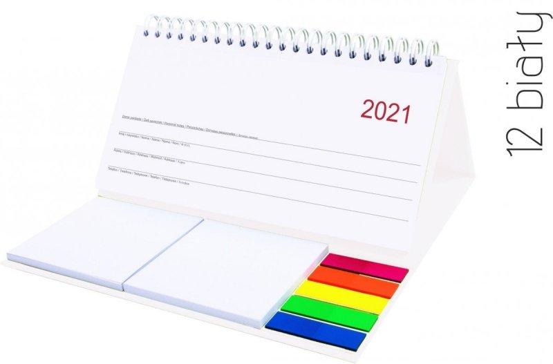 Kalendarz biurkowy z notesami i znacznikami MIDI TYGODNIOWY 2021 biały