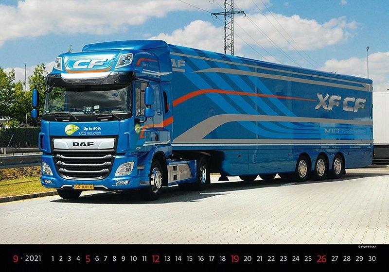 Kalendarz ścienny wieloplanszowy Trucks 2021 - wrzesień 2021