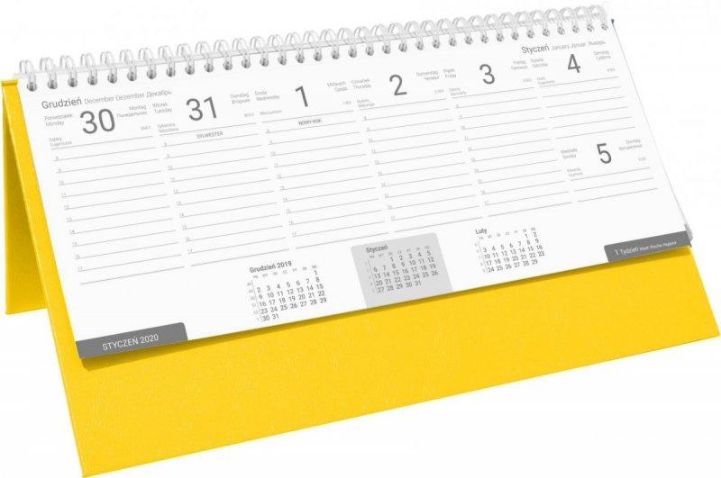 Kalendarz biurkowy stojąco-leżący BUSINESS LINE oprawa Agora kolor żółty