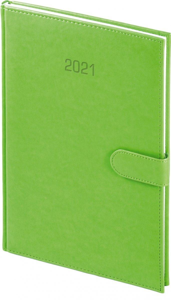 Kalendarz książkowy 2021 A4 tygodniowy papier biały drukowane registry oprawa MAGNESIAN - seledynowy oprawa skóropodobna zamykana na magnes