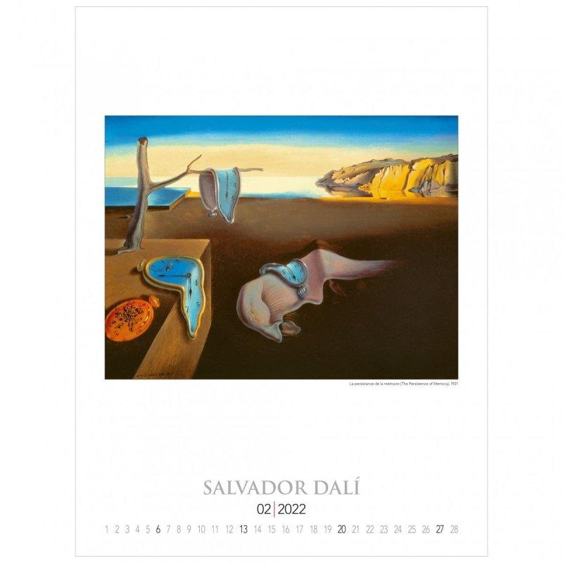 Kalendarza ścienny wieloplanszowy z reprodukcjami obrazów Salvadora Dali - luty 2022