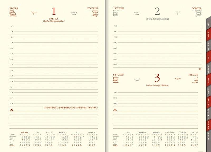 Kalendarz książkowy na rok 2021 B5 dzienny z papierem chamois wycinane registry