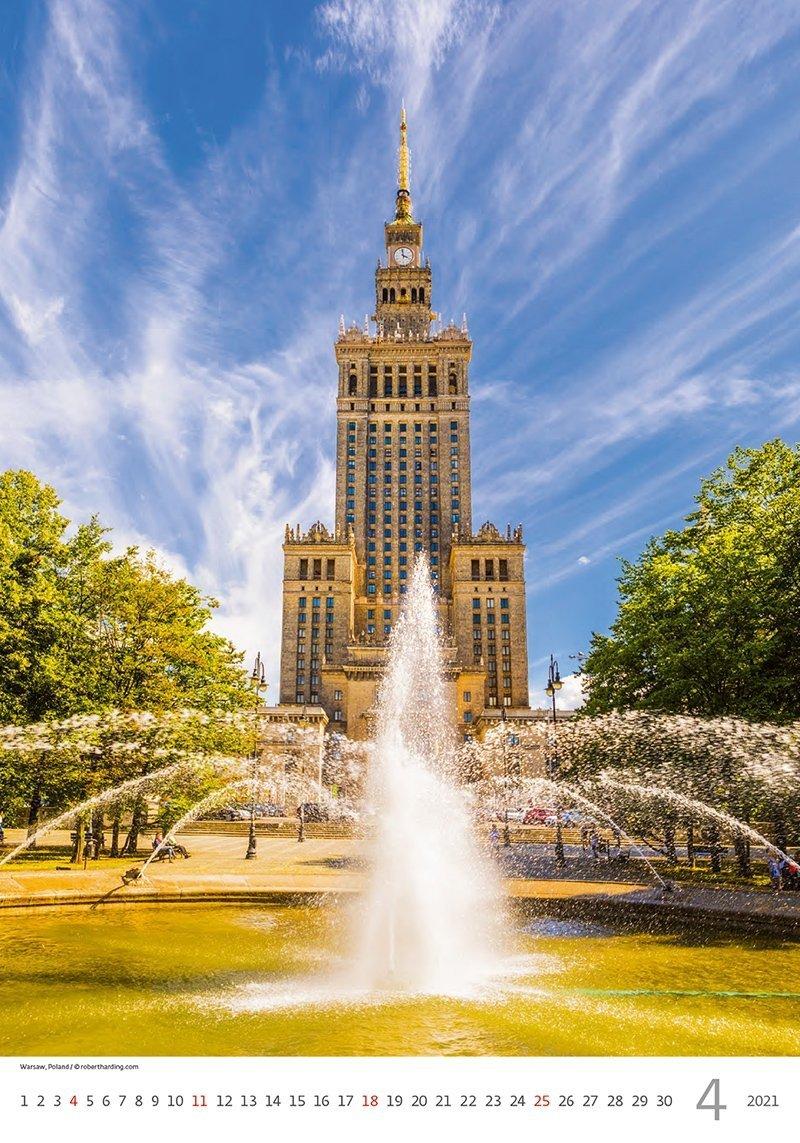 Kalendarz ścienny wieloplanszowy Cities Of Europe 2021 - kwiecień 2021