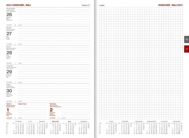 Kalendarz książkowy 2021 A4 tygodniowy Z NOTESEM papier biały