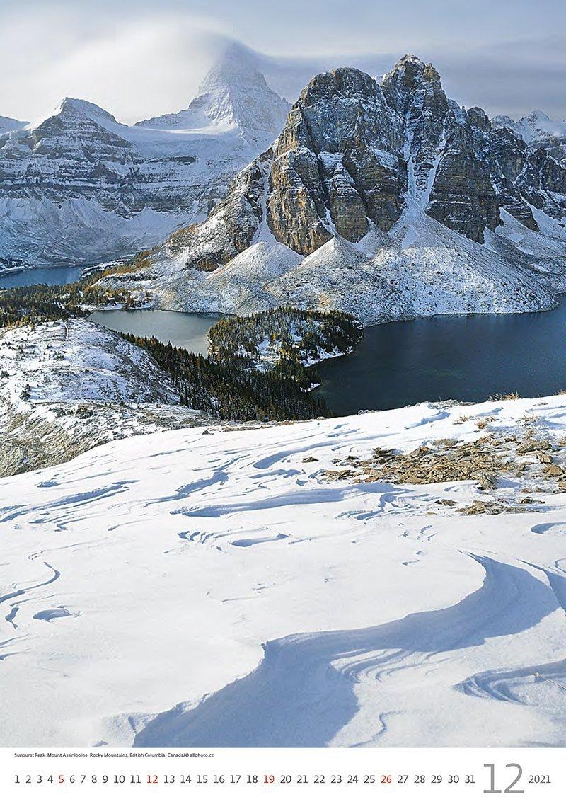 Kalendarz ścienny wieloplanszowy Mountains 2021 - grudzień 2021