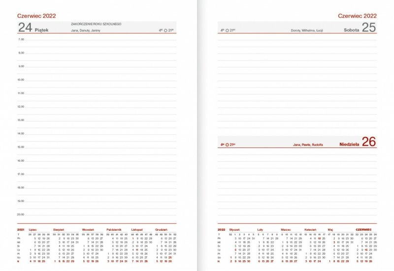 Kalendarz nauczyciela na rok szkolny 2021/2022 format B6 układ dzienny