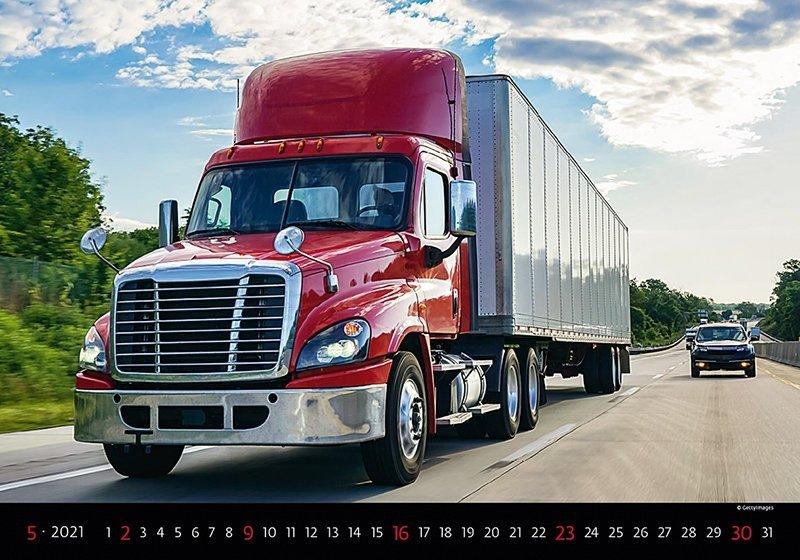Kalendarz ścienny wieloplanszowy Trucks 2021 - maj 2021