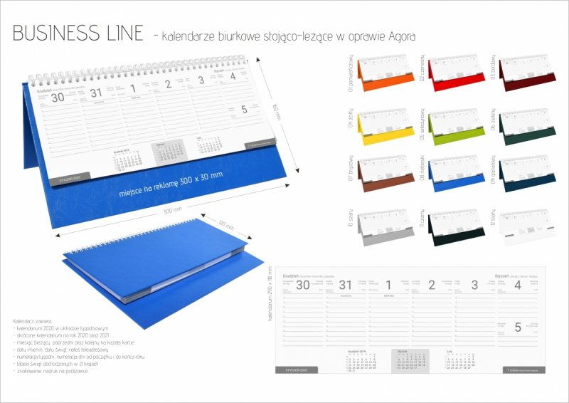 Kalendarz biurkowy stojąco-leżący BUSINESS LINE