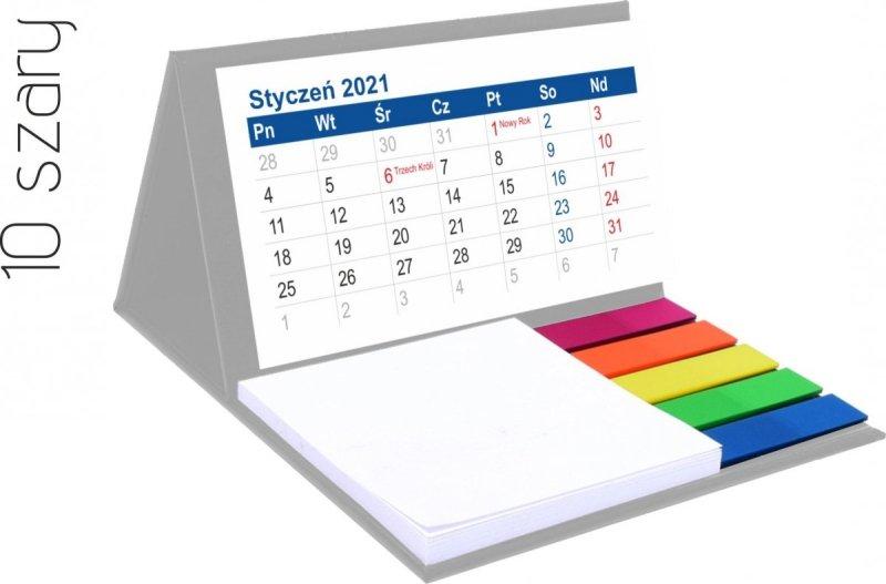 Kalendarz biurkowy z notesem i znacznikami MINI 2021 szary