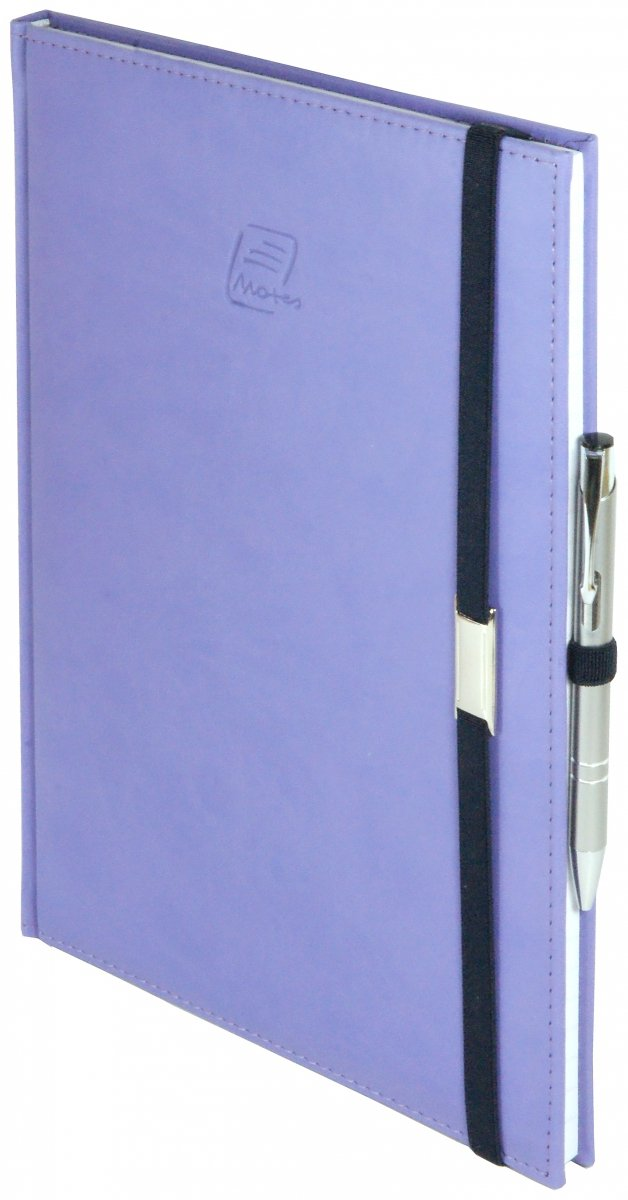 Notes A5 z długopisem zamykany na gumkę z blaszką  oprawa Vivella fioletowa - okładka