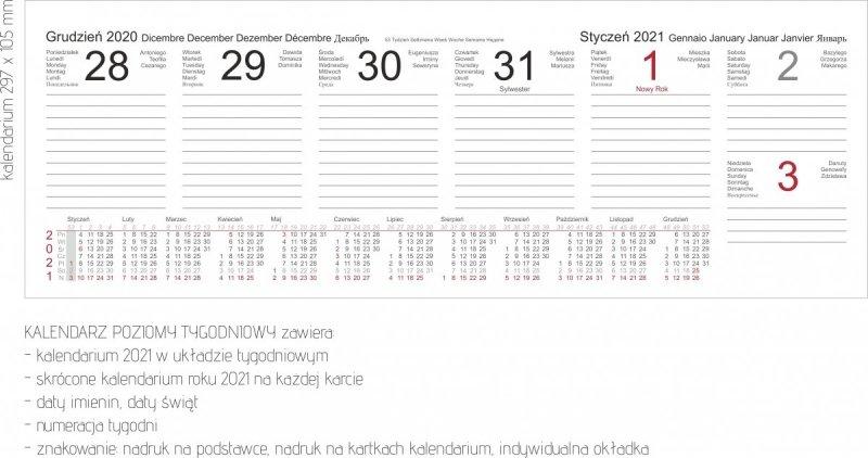 Kalendarz biurkowy stojący POZIOMY TYGODNIOWY 2021
