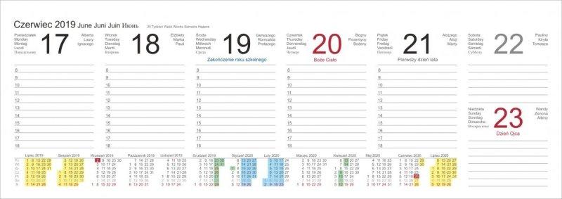Kalendarz biurkowy poziomy tygodniowy na rok szkolny 2019/2020 - przykładowa strona kalendarza