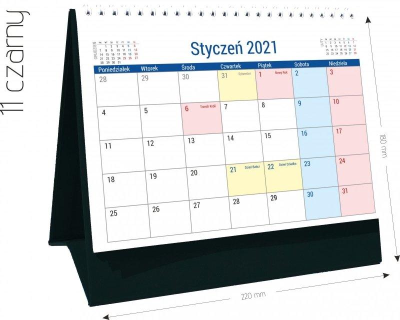 Kalendarz biurkowy stojący na podstawce PLANO 2021 czarny