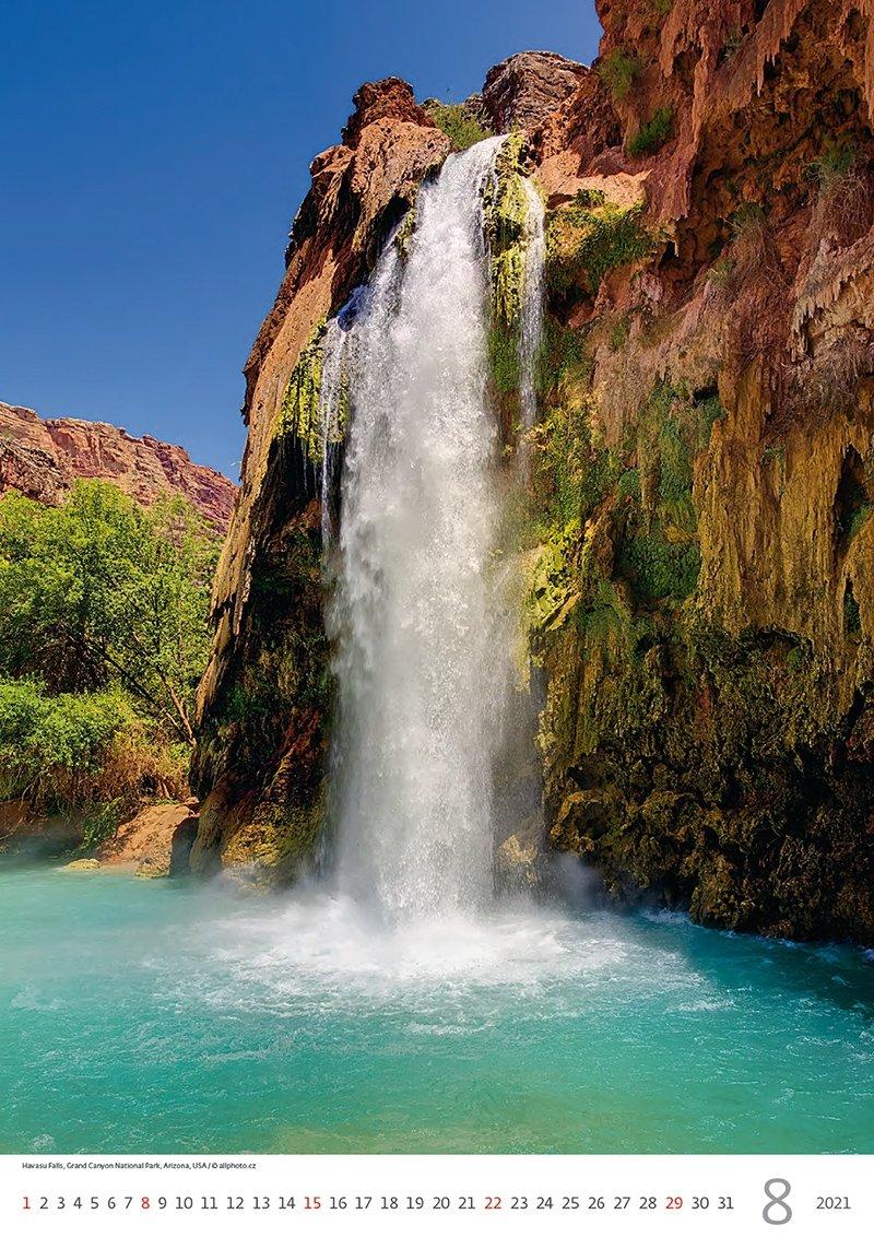 Kalendarz ścienny wieloplanszowy Waterfalls 2021 - sierpień 2021