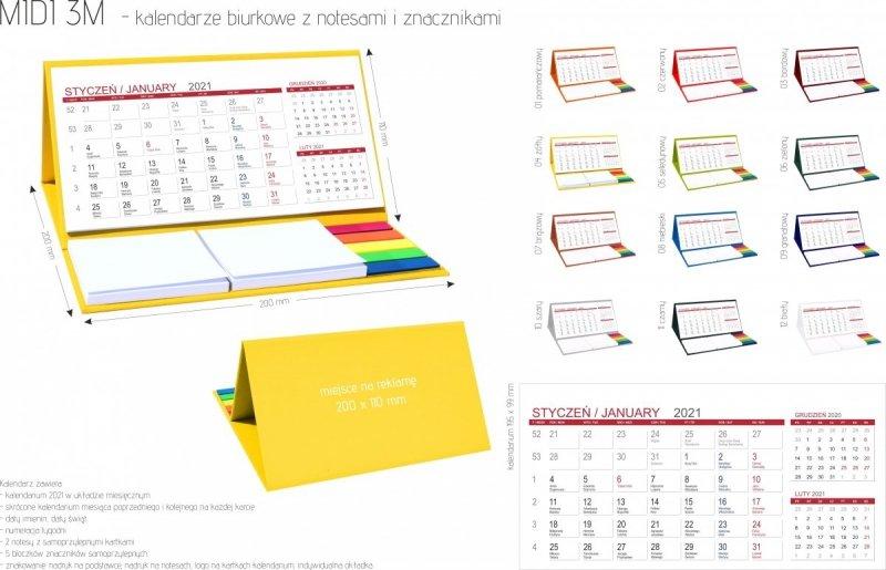 Kalendarz biurkowy z notesami i znacznikami MIDI 3-miesięczny 2021 - kalendarium, wymiary