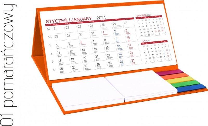 Kalendarz biurkowy z notesami i znacznikami MIDI 3-miesięczny 2021 pomarańczowy