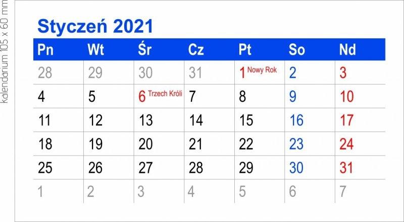 Kalendarz biurkowy MINI kalendarium 2021