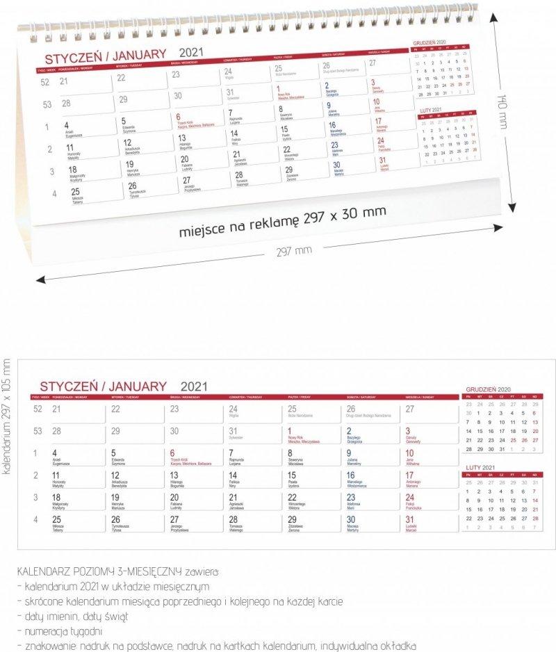Kalendarz biurkowy stojący POZIOMY 3-MIESIĘCZNY 2021