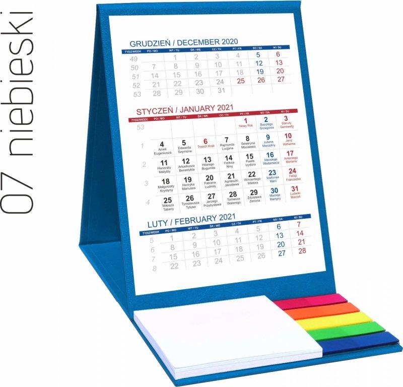 Kalendarz biurkowy z notesem i znacznikami TOP 3-miesięczny 2021 niebieski