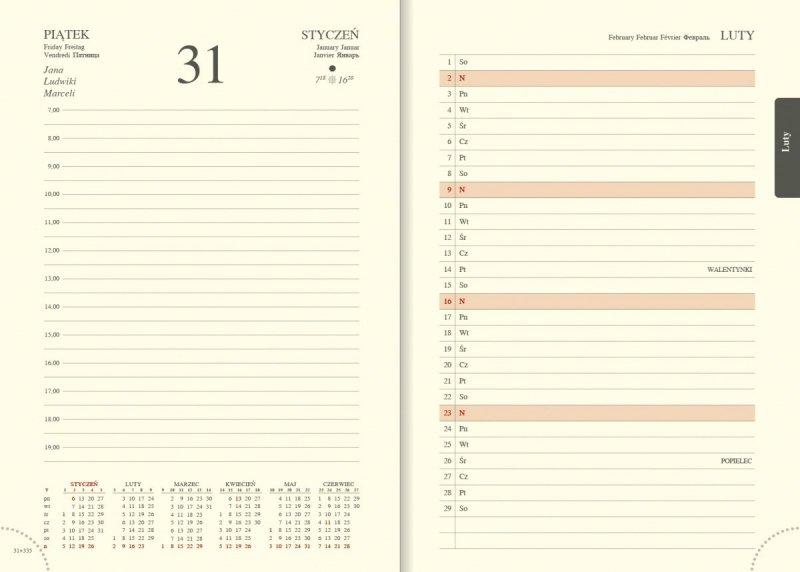 Kalendarz książkowy A5 dzienny papier chamois drukowane registry perforacja