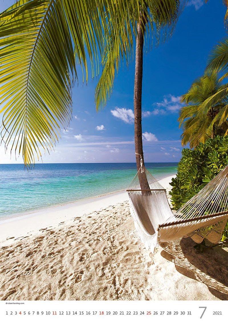 Kalendarz ścienny wieloplanszowy Tropical Beaches 2021 - lipiec 2021