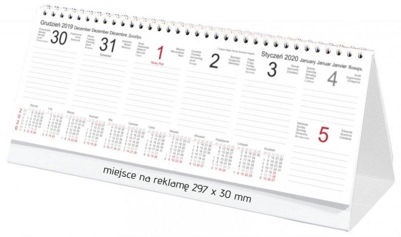 Kalendarz biurkowy stojący POZIOMY TYGODNIOWY 2020 - kalendarium
