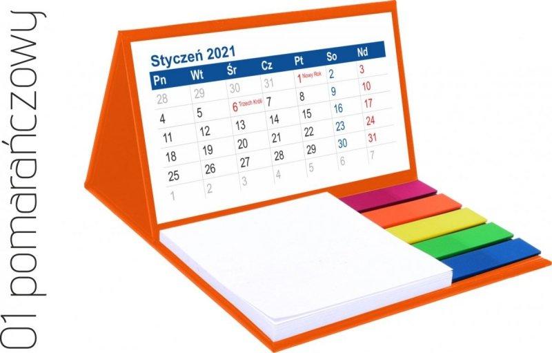 Kalendarz biurkowy z notesem i znacznikami MINI 2021 pomarańczowy