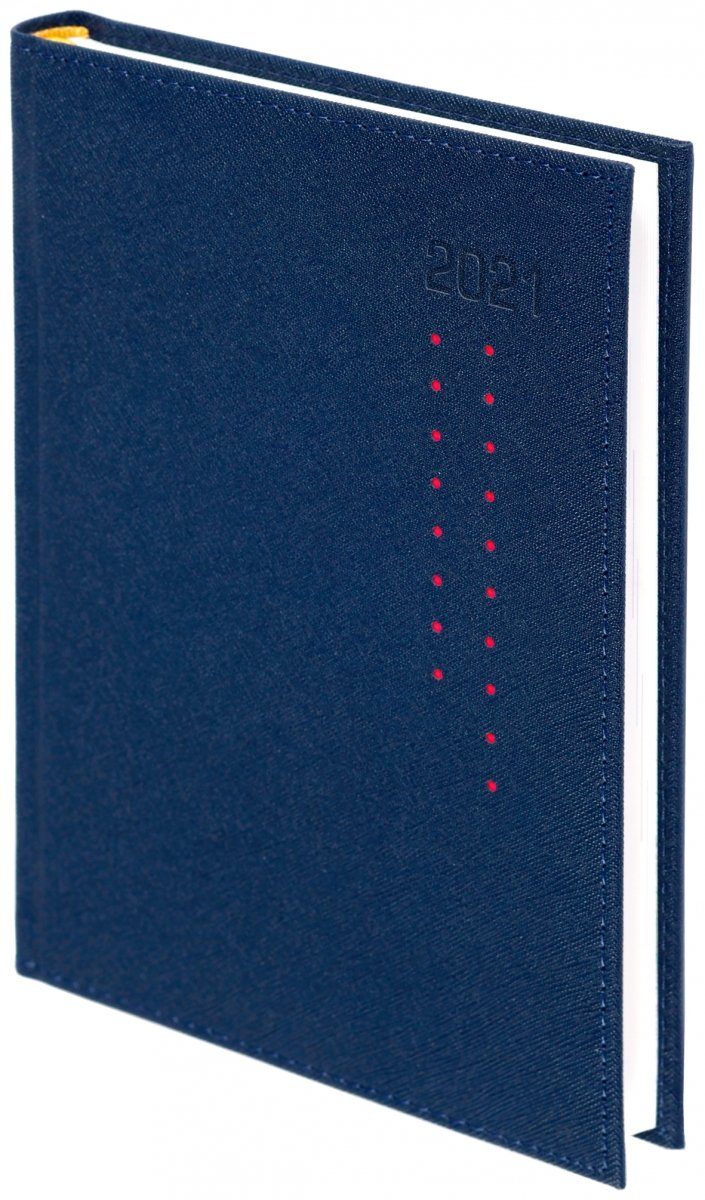 Kalendarz książkowy 2021 A4 dzienny oprawa ROSSA granatowa/czerwone kropki - oprawa przeszywana