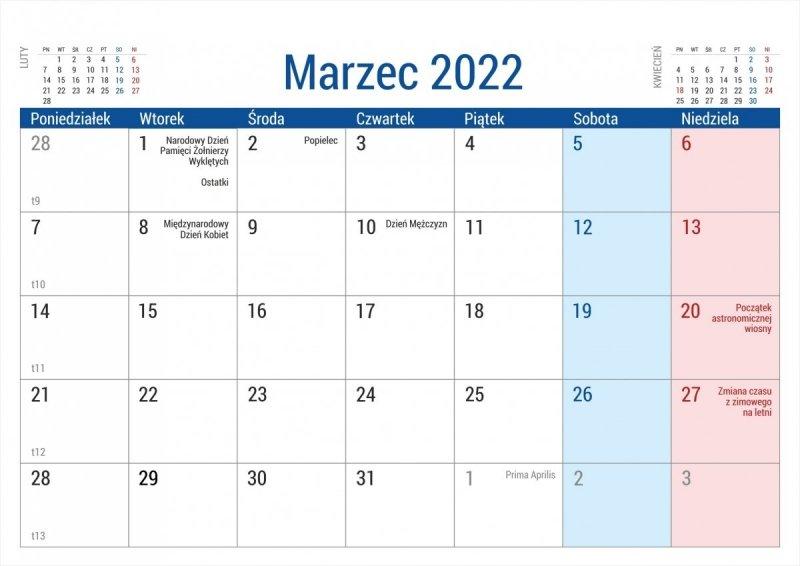 Kalendarz biurkowy stojący na podstawce PLANO 2022 niebieski