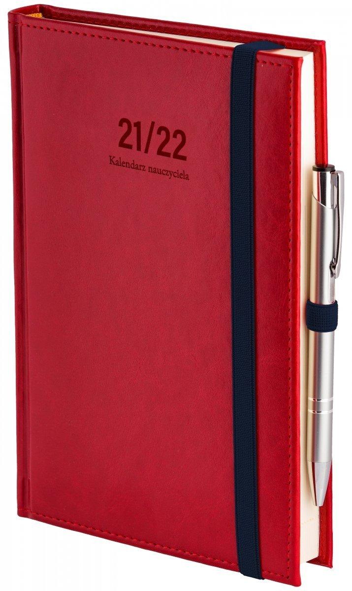 Oprawa kalendarza dla nauczyciela Nebraska z zamykaniem na gumkę i mocowaniem na długopis w kolorze czerwonym