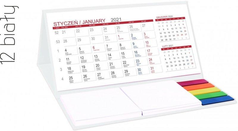 Kalendarz biurkowy z notesami i znacznikami MIDI 3-miesięczny 2021 biały